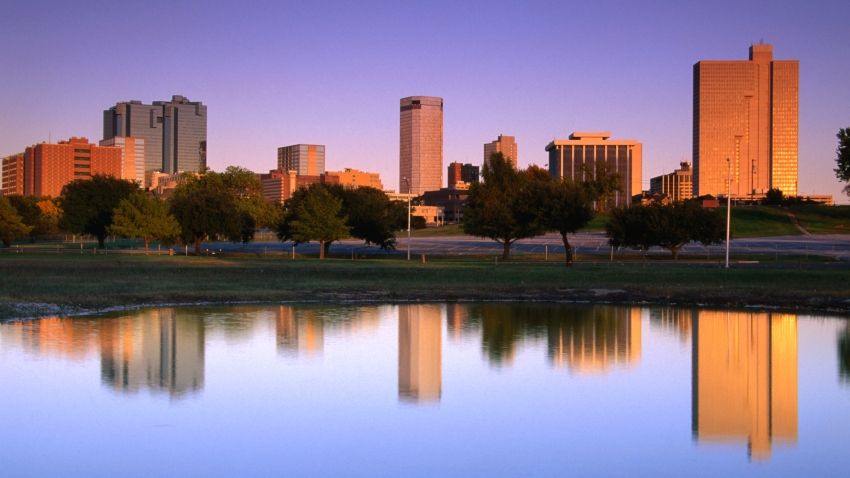 Fort Worth skyline relected in the Trinity