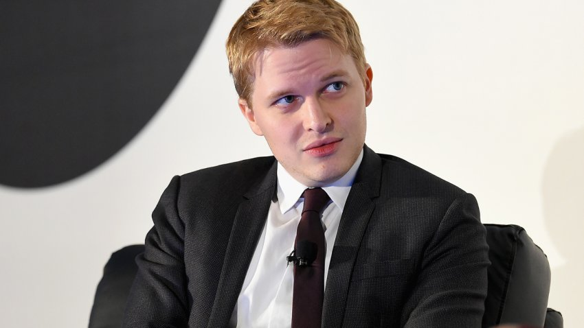 In this Feb. 6, 2018, file photo, contributor for The New Yorker Ronan Farrow speaks on stage at the American Magazine Media Conference 2018 in New York City.
