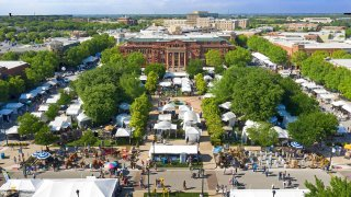 aerial shot of Southlake Art in the Square