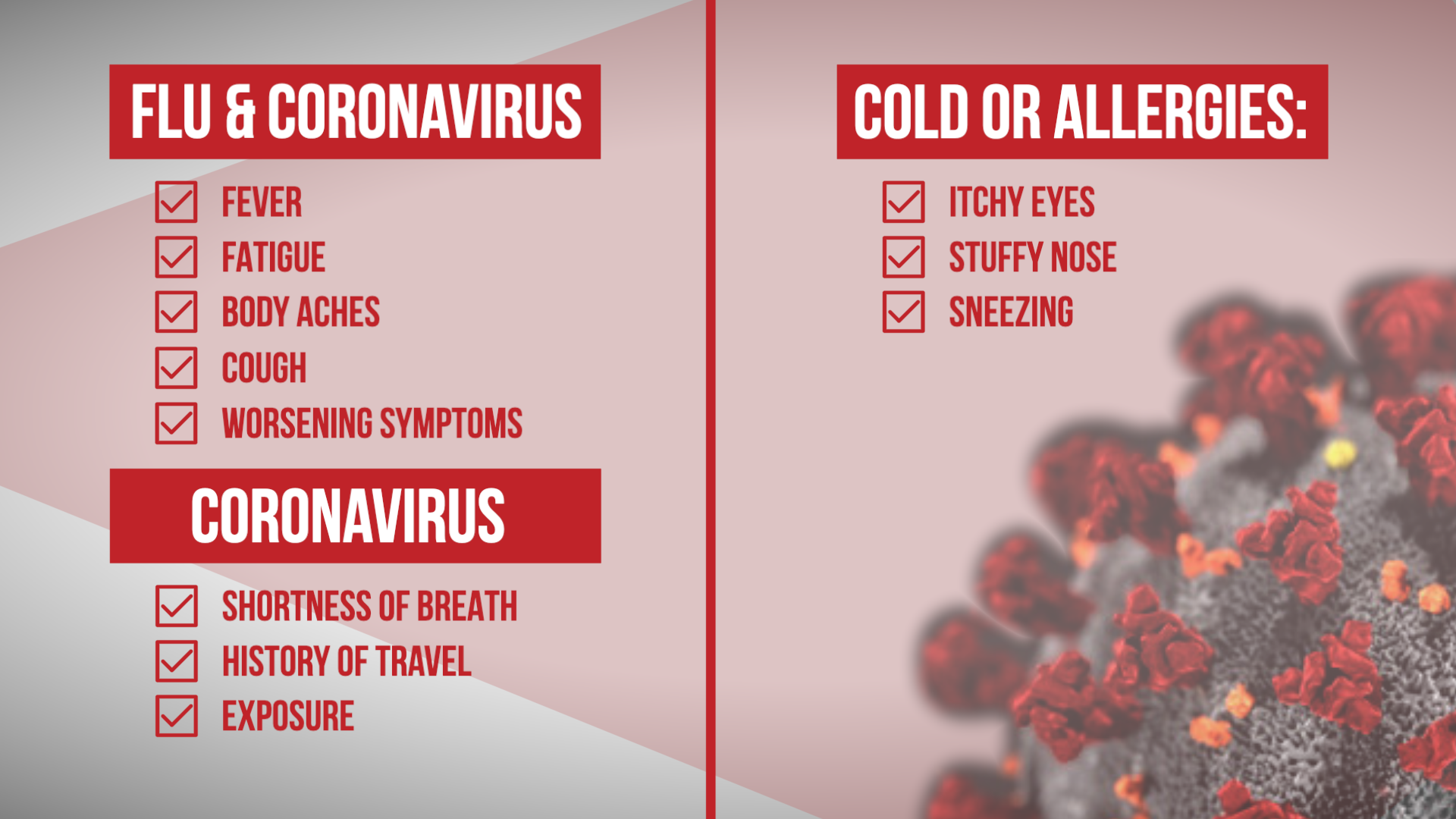 Comparing Symptoms Between Coronavirus, Flu & Allergies – NBC 5 ...