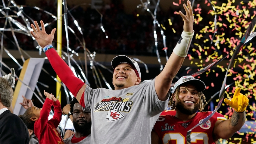 Kansas City Chiefs' Patrick Mahomes, left, and Tyrann Mathieu celebrate after defeating the San Francisco 49ers in the NFL Super Bowl 54 football game Sunday, Feb. 2, 2020, in Miami Gardens, Florida.