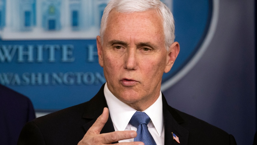 Vice President Mike Pence speaks during a news conference