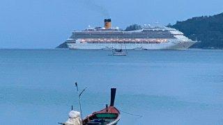 A view of the Costa Fortuna cruise ship, near Phuket, Thailand