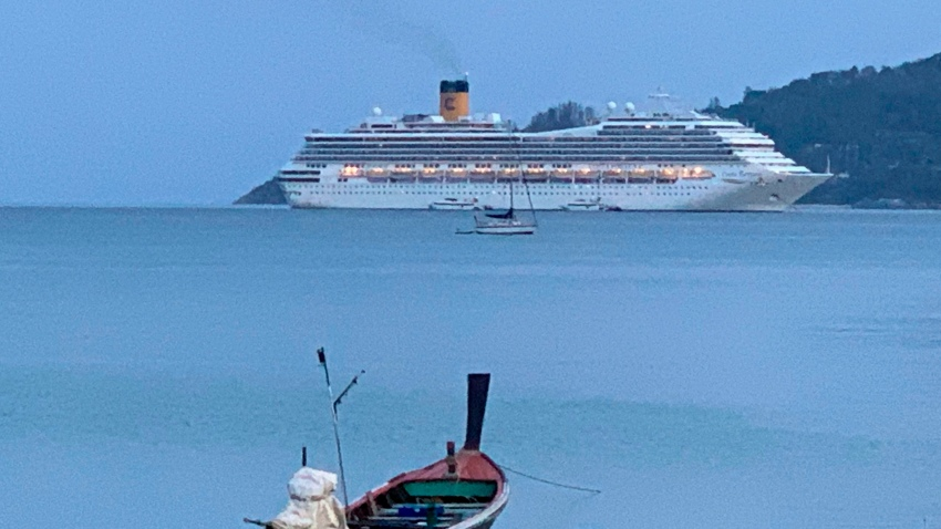 A view of the Costa Fortuna cruise ship, near Phuket, Thailand
