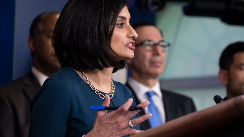 In this March 14, 2020, file photo, administrator of the Centers for Medicare and Medicaid Services Seema Verma, speaks during a news conference about the coronavirus in the James Brady Briefing Room at the White House in Washington.
