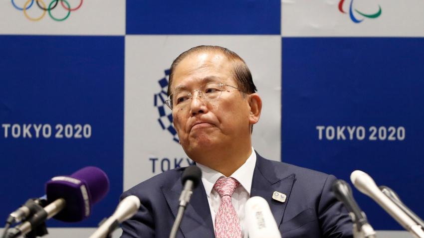 In this March 30, 2020, file photo, Tokyo 2020 Organizing Committee CEO Toshiro Muto attends a news conference after a Tokyo 2020 Executive Board Meeting in Tokyo.
