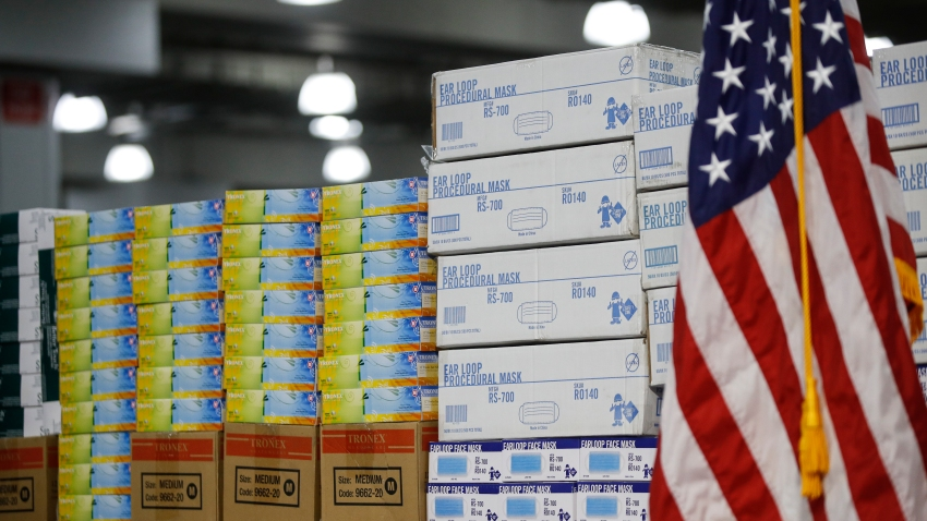 In this March 24, 2020, file photo stacks of medical supplies are housed at the Jacob Javits Center that will become a temporary hospital in response to the COVID-19 outbreak in New York.