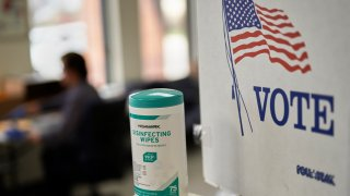 "Disinfecting wipes next to a ""VOTE"" sign"