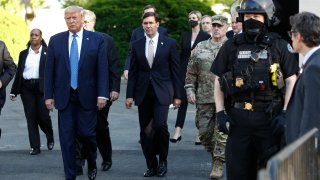 In this June 1, 2020, file photo President Donald Trump departs the White House to visit outside St. John's Church in Washington.