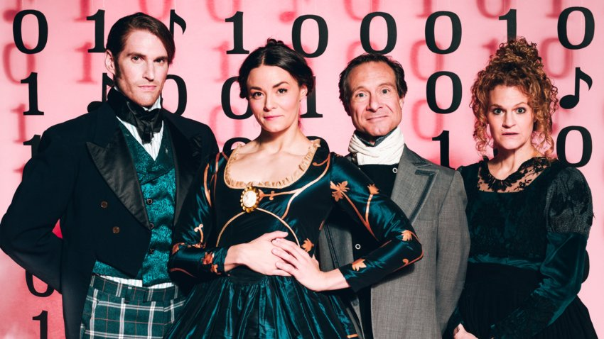 four people in period dress at stage west's production of Garret Storms, Kelsey Milbourn, Steven Pounders, Megan Haratine in Stage West's Ada and the Engine