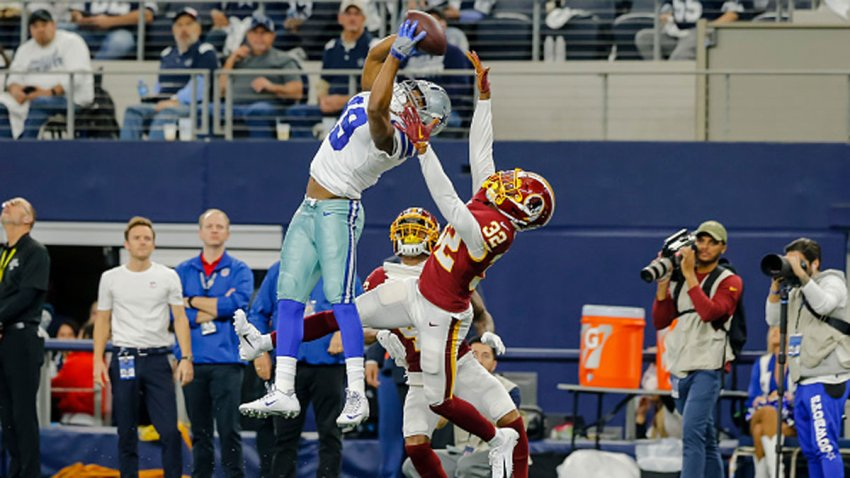 Dallas Cowboys wide receiver Amari Cooper (19) catches a pass for a first down over Washington Redskins cornerback Jimmy Moreland (32) during the game between the Dallas Cowboys and the Washington Redskins on December 29, 2019 at AT&T Stadium in Arlington, Texas.