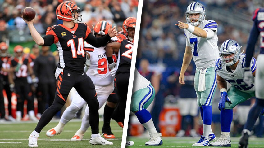 Left: Andy Dalton #14 of the Cincinnati Bengals throws the ball during the game against the Cleveland Browns at Paul Brown Stadium on December 29, 2019 in Cincinnati, Ohio. Right: Dallas Cowboys quarterback Cooper Rush (7) points out the blocking assignments during the preseason game between the Houston Texans and Dallas Cowboys on August 24, 2019 at AT&T Stadium in Arlington, Texas.
