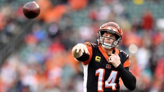 Quarterback Andy Dalton #14 of the Cincinnati Bengals throws a pass in the first quarter of a game against the Cleveland Browns on December 29, 2019 at Paul Brown Stadium in Cincinnati, Ohio. Cincinnati won 33-23.