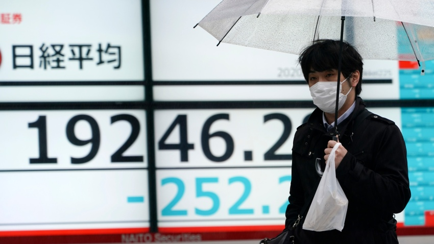 In this April 13, 2020, file photo, a man with a protective mask walks in the rain past an electronic stock board showing Japan's Nikkei 225 index at a securities firm in Tokyo.