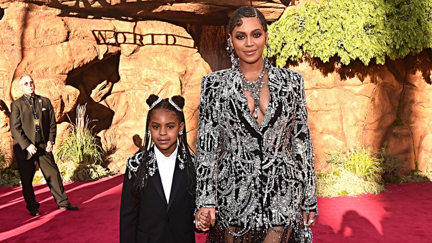 "Blue Ivy Carter (L) and Beyonce Knowles-Carter attend the World Premiere of Disney's ""The Lion King"" at the Dolby Theatre, July 9, 2019, in Hollywood, Calif."