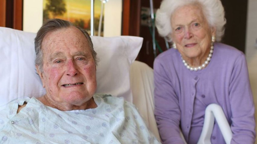 President George H.W. Bush and Barbra Bush at the tospital