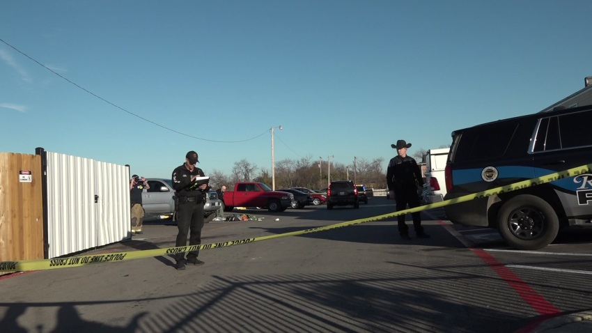 Authorities respond to the scene of a shooting in the 6300 block of Baker Boulevard Sunday, Dec. 15, 2019 in Haltom City, Texas.