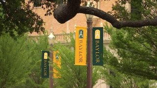 banners on the campus of Baylor University