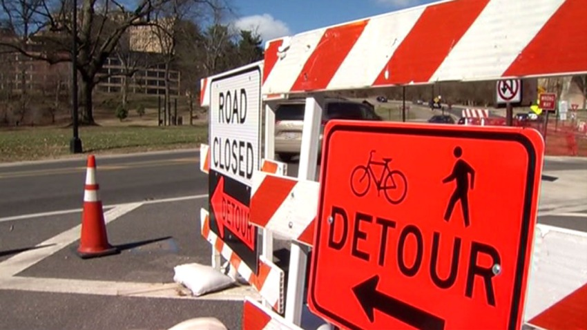 Beach Drive Project Phase One Detour Sign