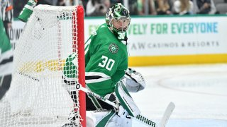 Ben Bishop #30 of the Dallas Stars tends goal against the Colorado Avalanche at the American Airlines Center on Dec. 28, 2019 in Dallas, Texas.