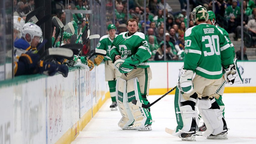 Anton Khudobin #35 of the Dallas Stars replaces Ben Bishop #30 of the Dallas Stars against the St. Louis Blues in the second period at American Airlines Center on Feb. 21, 2020 in Dallas, Texas.