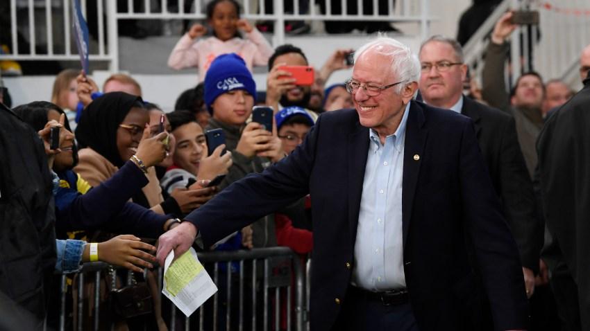 Democratic presidential candidate Sen. Bernie Sanders, I-Vt., arrives to speak during a campaign rally in Springfield, Va., Saturday, Feb. 29, 2020.