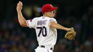 Brock Burke #70 of the Texas Rangers pitches in the third inning against the Oakland Athletics at Globe Life Park in Arlington on Sept. 13, 2019 in Arlington, Texas.