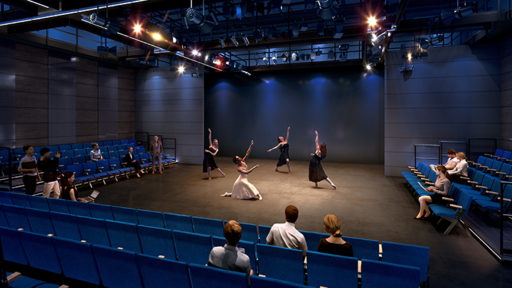 Rendering of the Coppell Arts Center's  black box.