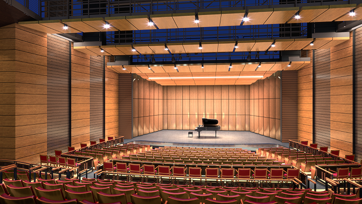Rendering of the Coppell Arts Center main hall.