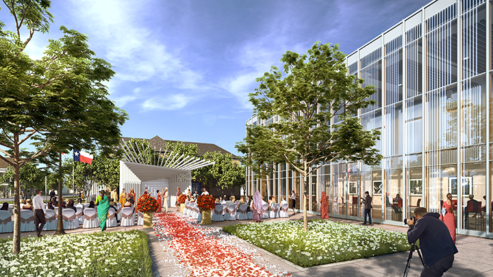 Rendering of the grove at the Coppell Arts Center.