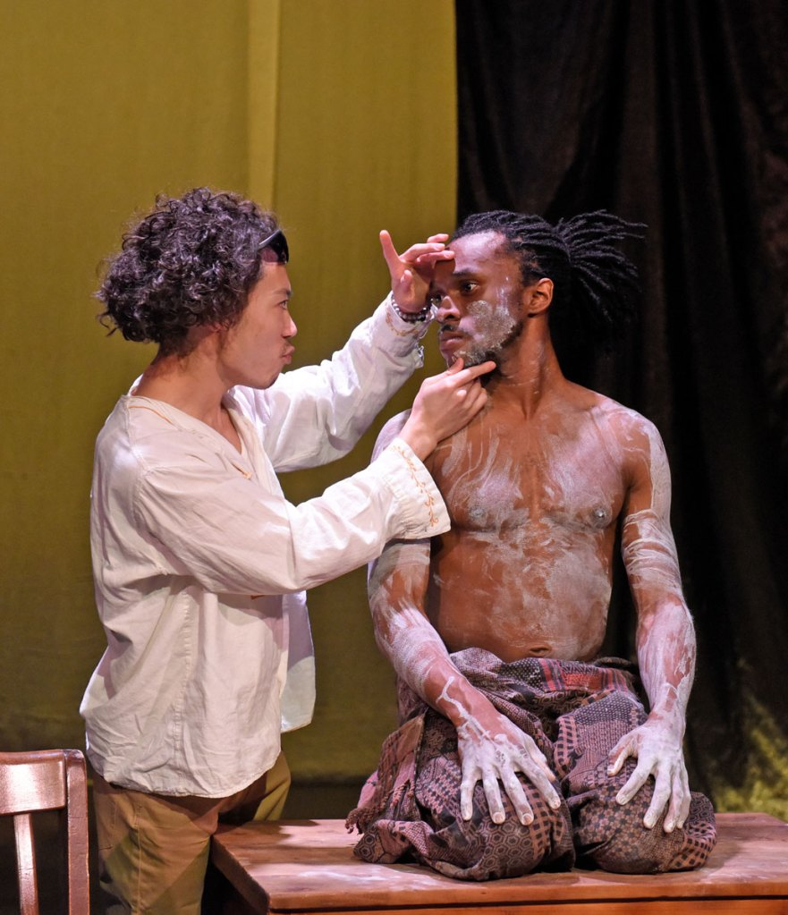 """Christopher Lew and McClendon """"Mickey"""" Giles in 'Mlima's Tale' at Second Thought Theatre."""
