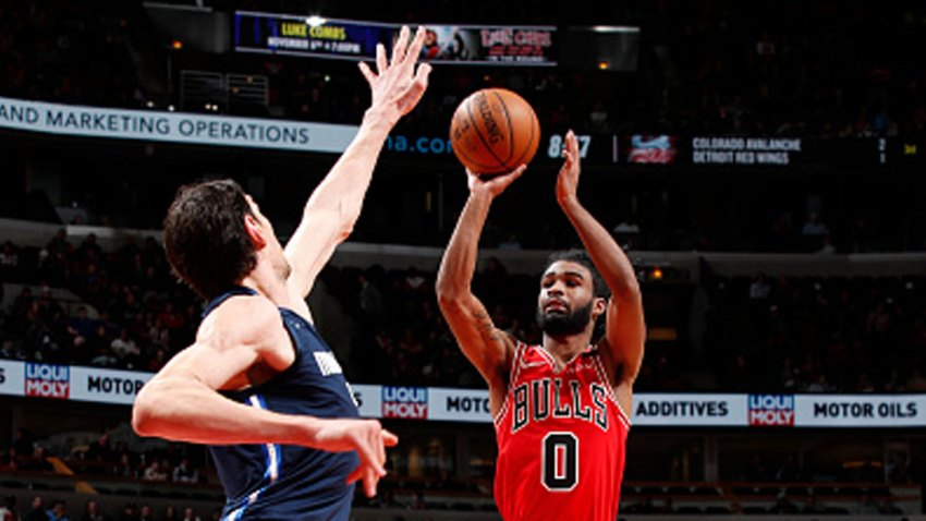 Coby White #0 of the Chicago Bulls shoots the ball against the Dallas Mavericks on March 2, 2020 at United Center in Chicago, Illinois.