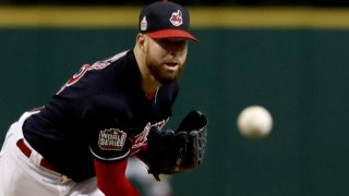 Corey Kluber #28 of the Cleveland Indians throws a pitch against the Chicago Cubs during the first inning in Game One of the 2016 World Series at Progressive Field on October 25, 2016 in Cleveland, Ohio.