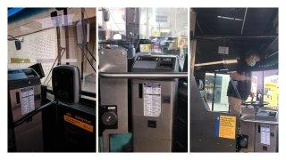 plexiglas installed in city bus