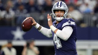 Dak Prescott #4 of the Dallas Cowboys passes against the Los Angeles Rams in the third quarter at AT&T Stadium on Dec. 15, 2019 in Arlington, Texas.