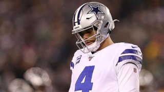 Dak Prescott #4 of the Dallas Cowboys reacts during the first half against the Philadelphia Eagles in the game at Lincoln Financial Field on Dec. 22, 2019 in Philadelphia, Pennsylvania.