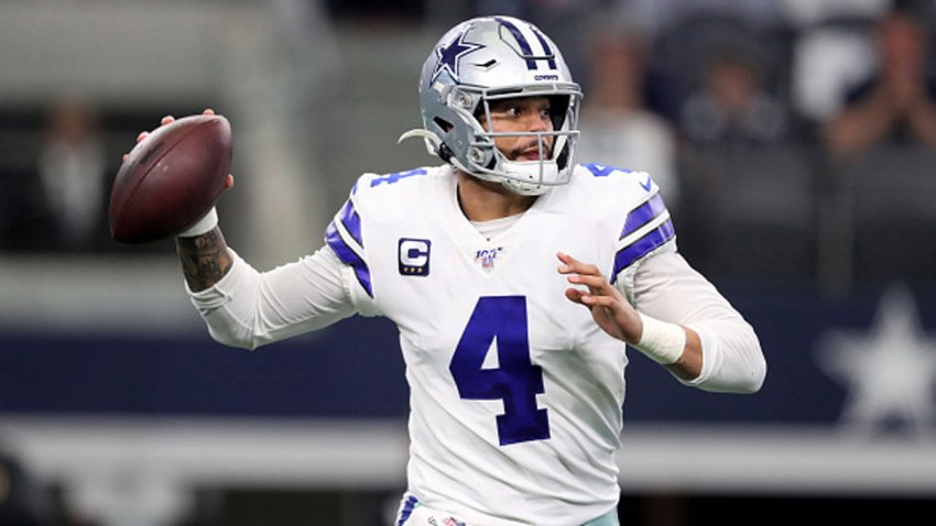 Dak Prescott #4 of the Dallas Cowboys throws a pass in the first quarter against the Washington Redskins in the game at AT&T Stadium on Dec. 29, 2019 in Arlington, Texas.