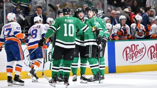 Corey Perry #10, Alexander Radulov #47 and the Dallas Stars celebrate a goal against the New York Islanders at the American Airlines Center on Dec. 7, 2019 in Dallas, Texas.
