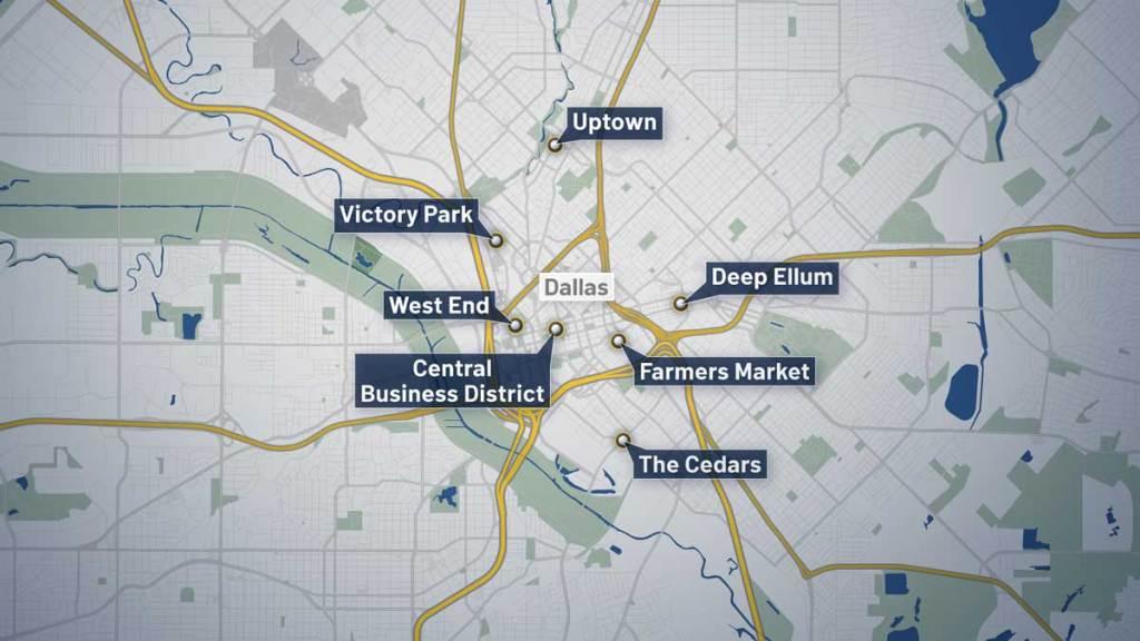 Dallas neighborhoods under curfew starting at 7 p.m. Sunday.