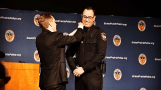 Daniel Scesney is sworn in as the new chief of the Grand Prairie Police Department on Thursday, Jan. 23, 2020.