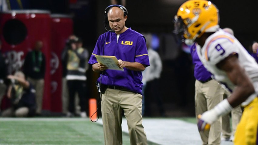 LSU Tigers Defensive Coordinator Dave Aranda during the SEC Championship game between the Georgia Bulldogs and the LSU Tigers on Dec. 7, 2019, at Mercedes-Benz Stadium in Atlanta, Georgia.