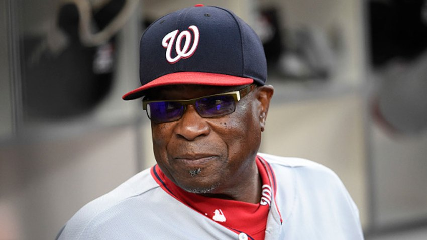 Dusty Baker #12 of the Washington Nationals looks on before a baseball game against the San Diego Padres at PETCO Park on Aug. 18, 2017 in San Diego, California.
