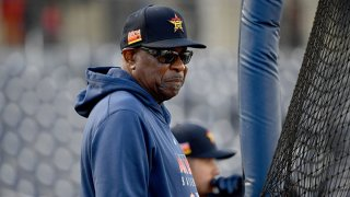 Manager Dusty Baker Jr. #12 of the Houston Astros looks on prior to the spring training game against the Washington Nationals at FITTEAM Ballpark of the Palm Beaches on Feb. 22, 2020 in West Palm Beach, Florida.