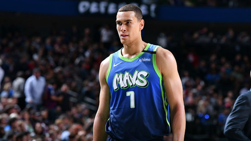 Dwight Powell #7 of the Dallas Mavericks looks on during a game against the Portland Trail Blazers on Jan. 17, 2020 at the American Airlines Center in Dallas, Texas.