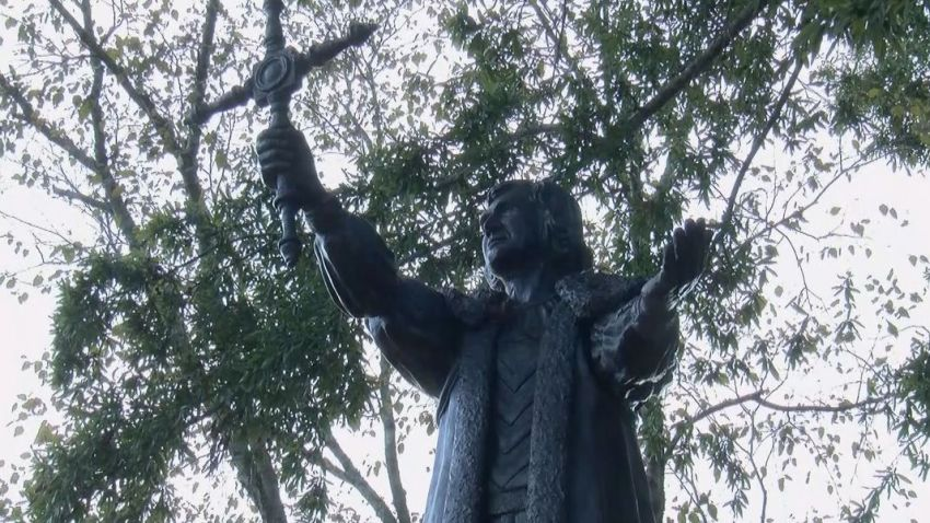 The Christopher Columbus statue in Columbia, South Carolina. The statue was a gift to the people of Columbia from the Daughters of the American Revolution.