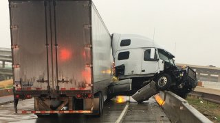 A jack-knifed 18-wheeler on I-635 near SH 114 shut down the highway Saturday morning.