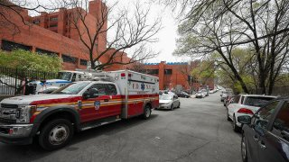 Ambulances are seen by Lincoln Hospital in the Bronx borough of New York City, April 20, 2020.