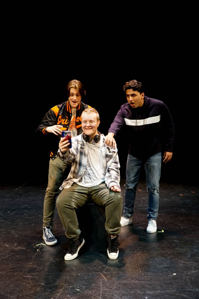 From left to right, Wynn Droz plays Jeremy, Zander Pryor plays Andi, and Christian Arrubla plays Kai in Andi Boi