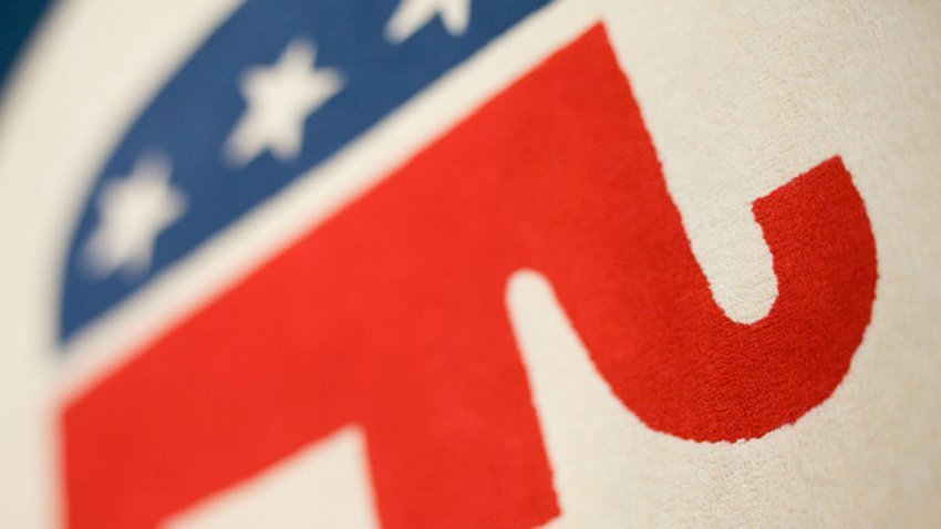 The elephant, a symbol of the Republican Party, on in a rug in the lobby of the Republican Party's headquarters in Washington.