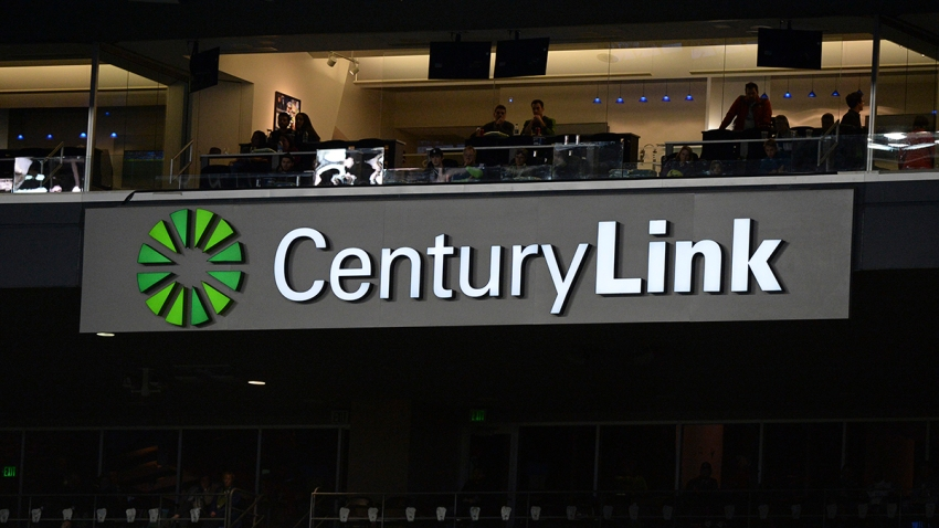 A Century Link sponsorship sign hangs in Century Link Field during a MLS match between FC Dallas and the Seattle Sounders on September 18, 2019, at Century Link Stadium in Seattle, WA.